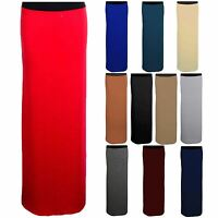 Ladies Elasticated Plain Long Maxi Jersey Gypsy Casual Bodycon Stretch Skirt