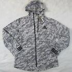 Adidas Reflective Gray Snow Camo Track ID Jacket Hoodie EI7462 Men's Medium
