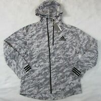 Adidas Reflective Gray Snow Camo Track ID Jacket Hoodie EI7462 Men's Medium
