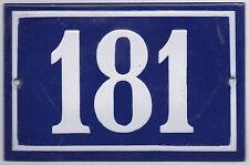 Old blue French house number 181 door gate plate plaque enamel metal sign steel