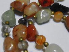 "VTG Polish Agate Precious Quartz Stone Earth tone brass bead spacer 31"" Necklace"