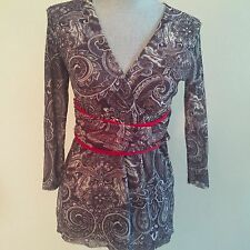 SWEET PEA Stacy Frati Medium M Blue Paisley Belted V Neck 3/4 Sleeve Top Shirt