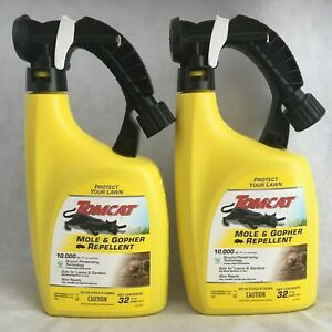 2 ~ Tomcat Mole & Gopher Repellent 32oz 10,000 Sq Ft Lawn Spray Treatment