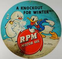 "DONALD DUCK HITTING SNOWMAN RPM MOTOR OIL HEAVY DUTY METAL 14"" ROUND ADV SIGN"