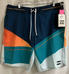 Men's Billabong Board Shorts Size 36 L Platinum X NWT Blues With Orange