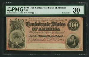 CSA T-64 $500 1864 REMAINDER NOTE VERY SCARCE PMG 30 VF+ DEEP RED COLOR WLM9479
