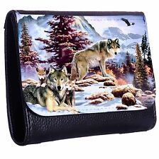 Native Wolfs And Cubs Tri-Fold Wallet w/ Button Pocket