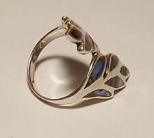 RG45 Vintage Designer Modernist Boho 925 Silber Ring Perlmutt Gr.54
