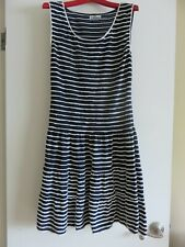 Womens Ann Klein II Navy Blue White Striped Dress 10 med. Cruise Versatile