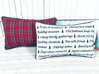 2 Vintage Hallmark Christmas Pillow Red Plaid NWT Boudoir Accent Rectangle