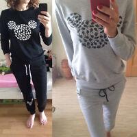 2pcs Women Loungewear Tracksuit Jogger Jogging Pants Mickey Mouse Sweatshirt Set