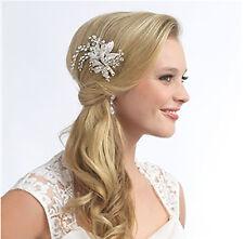 Handmade Diamante Crystal Silver Bridal comb HairPiece Wedding jewel stunning