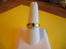 New Gold Plated Size 8.5 CZ Lt Green Solitaire Rhinestone Ring Band