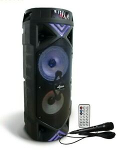 """Loud Double 6.5"""" Speaker Black Bluetooth with LED Lights RADIO/SD CARD/USB/ Aux"""
