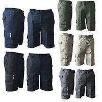 Mens Elasticated Plain Lightweight Cotton Cargo Gym Work Shorts Pants All Sizes