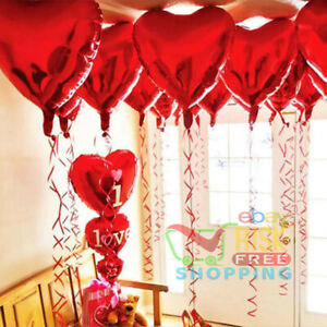 """10X Red Heart Love Foil Helium 18"""" Balloons Wedding Party Decor Valentine's Day"""