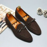 Mens Suede Leather Bowknot Slip On Pointed Toe Casual Leisure Loafers Shoes News