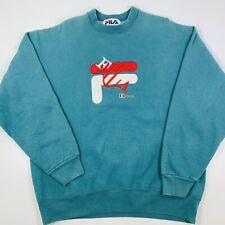 Vintage 90s Fila Italia Large Sewn Print Teal Blue Sweatshirt Size Large Italy