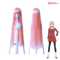 DARLING in the FRANXX 02 CODE 002 ZERO TWO Long Straight Bangs Pink Cosplay Wig