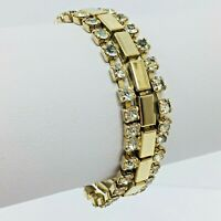 "Vintage Rhinestone Tennis Bracelet Gold Tone Link Multi Strand 6 3/4"""
