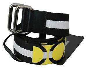 DOLCE & GABBANA Belt Black White Nylon Yellow Logo Stripe 95cm / 38in RRP $600