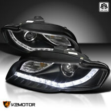For 06-08 Audi A4 LED Daytime Running Light DRL Black Projector Headlights