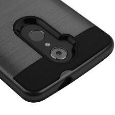 FOR ZTE Max XL N9560 Phone BLACK Brushed Hybrid Skin Cover Case + Screen Film