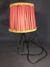 Ancienne petite lampe vintage années 1950 métal plastifié et abat-jour tissu