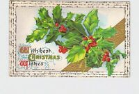 PPC POSTCARD BEST CHRISTMAS WISHES WINSCH HOLLY BIRCH GOLD EMBOSSED