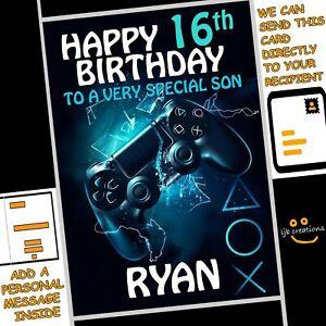 Personalised PLAYSTATION CONTROLLER Birthday Card Son Nephew Grandson Boy PS4