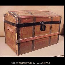 Antique Victorian Wooden Dome Top Steamer Doll / Toy Trunk Jenny Lind Style