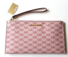 NEW Michael Kors Jet Set Large Zip Clutch Wristlet Bag MK Logo Blossom Pink $98