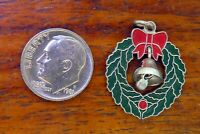 Vintage silver CHRISTMAS WREATH BOW MOVABLE BELL & CLAPPER ENAMEL charm WELLS