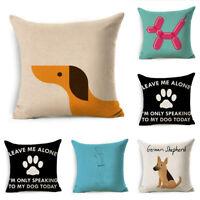 """Pillow Case Sofa Home Decor 18"""" Dog Pattern Cotton Linen Throw Cushion Cover"""