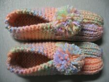 Tropical Fruits Peach Hand Knit House Slippers Wms Sm/Med Mans X Small 8 1/2""