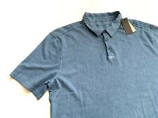 John Varvatos Men's Burnout Blue Short Sleeve Polo Shirt Large L NWT