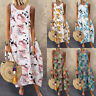 UK Womens Sleeveless Floral Printed Kaftan Ladies Long Maxi Dress Sundress Plus