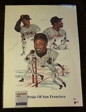 PRIDE OF SAN FRANCISCO WILLIE MAYS BARRY & BOBBY BONDS 20X28 LITHO PSA COA