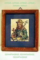 Kleine Gravur Über Holz Aquarelle König Kerstboom Datiert 1952 5,5x6,7 CM Bild