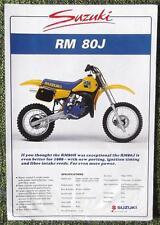 SUZUKI RM 80 J MOTORCYCLE SALES SHEET 1988