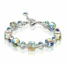Aurora Borealis Bracelet Beads String Crystals White Gold Adjustable Hand Chain