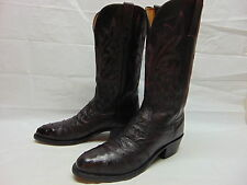 Lucchese 1883 Mens 8.5 D Black Cherry Full Quill Ostrich Leather Western Boots