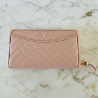 TORY BURCH Alexa Pink Quilted Leather Continental Zip Wallet