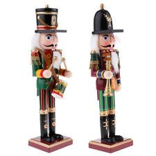 Wooden Nutcracker Solider Action Figure Doll Toys Christmas Decors Drum/Horn