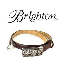 BRIGHTON Womens Croc Leather Belt M L/32 Three Hearts Buckle 40297 Maroon Trendy