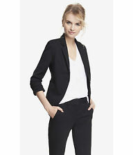 NEW EXPRESS BLACK 20 INCH STUDIO STRETCH RUCHED SLEEVE JACKET BLAZER SZ 12