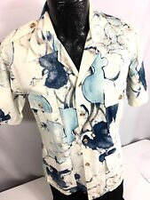Vtg Liberty House HOPSACK Men 4-POCKET Hawaiian REVERSE Print SURF LINE Shirt M
