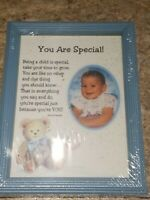Vintage Picture Frame Blue Standing Special Baby Kid Desk Table Bear Balloon