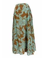 Dries Van Noten Jupe Vintage Floral Long Coton Vert Marron