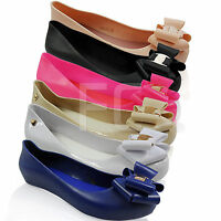 NEW WOMENS PUMPS BALLERINA LOW WEDGE HEEL JELLY BOW DOLLY SUMMER SHOES SIZE
